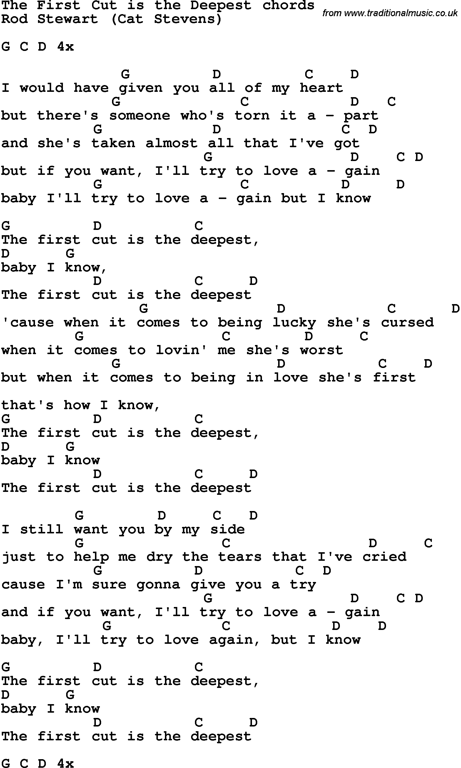 Song Lyrics With Guitar Chords For The First Cut Is The Deepest - Free Printable Song Lyrics With Guitar Chords