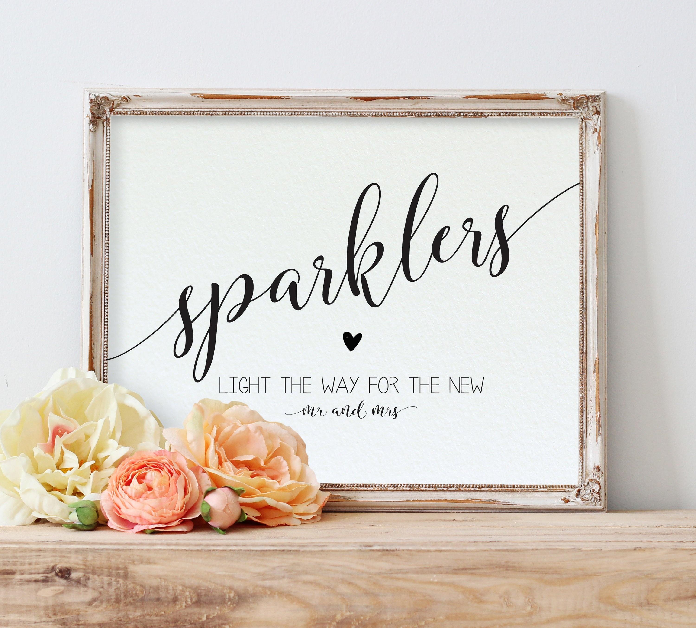 Sparklers Printable Sparkler Sign Template Wedding Sparklers | Etsy - Free Printable Wedding Sparkler Sign