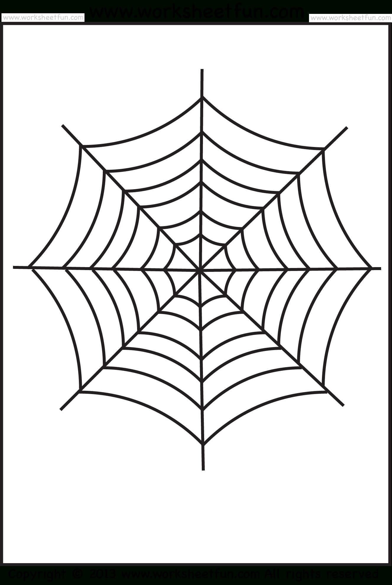 Spider Web Tracing – One Halloween Worksheets / Free Printable - Spider Web Stencil Free Printable