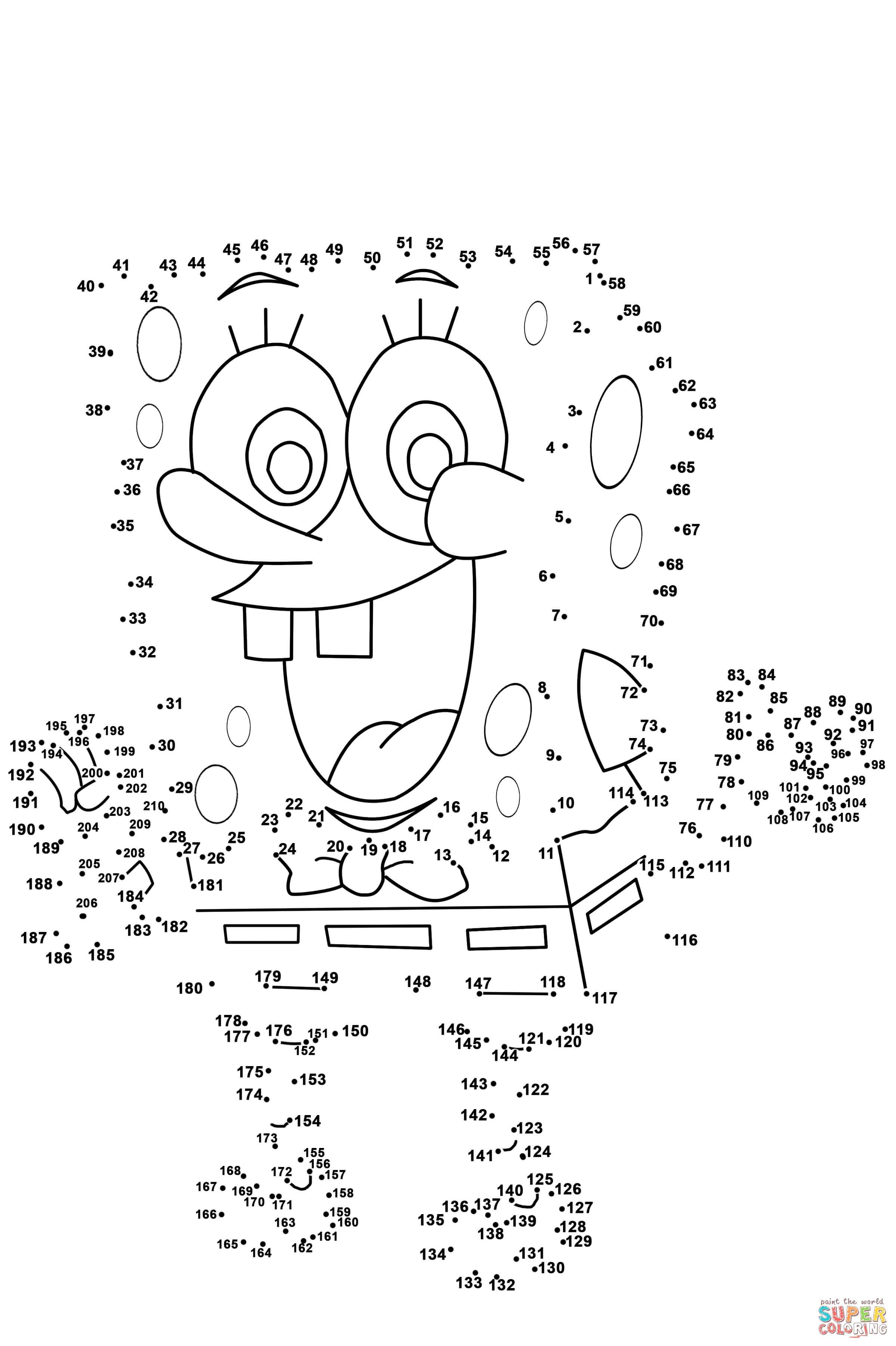 Spongebob Dot To Dot   Free Printable Coloring Pages - Free Printable Dot To Dot