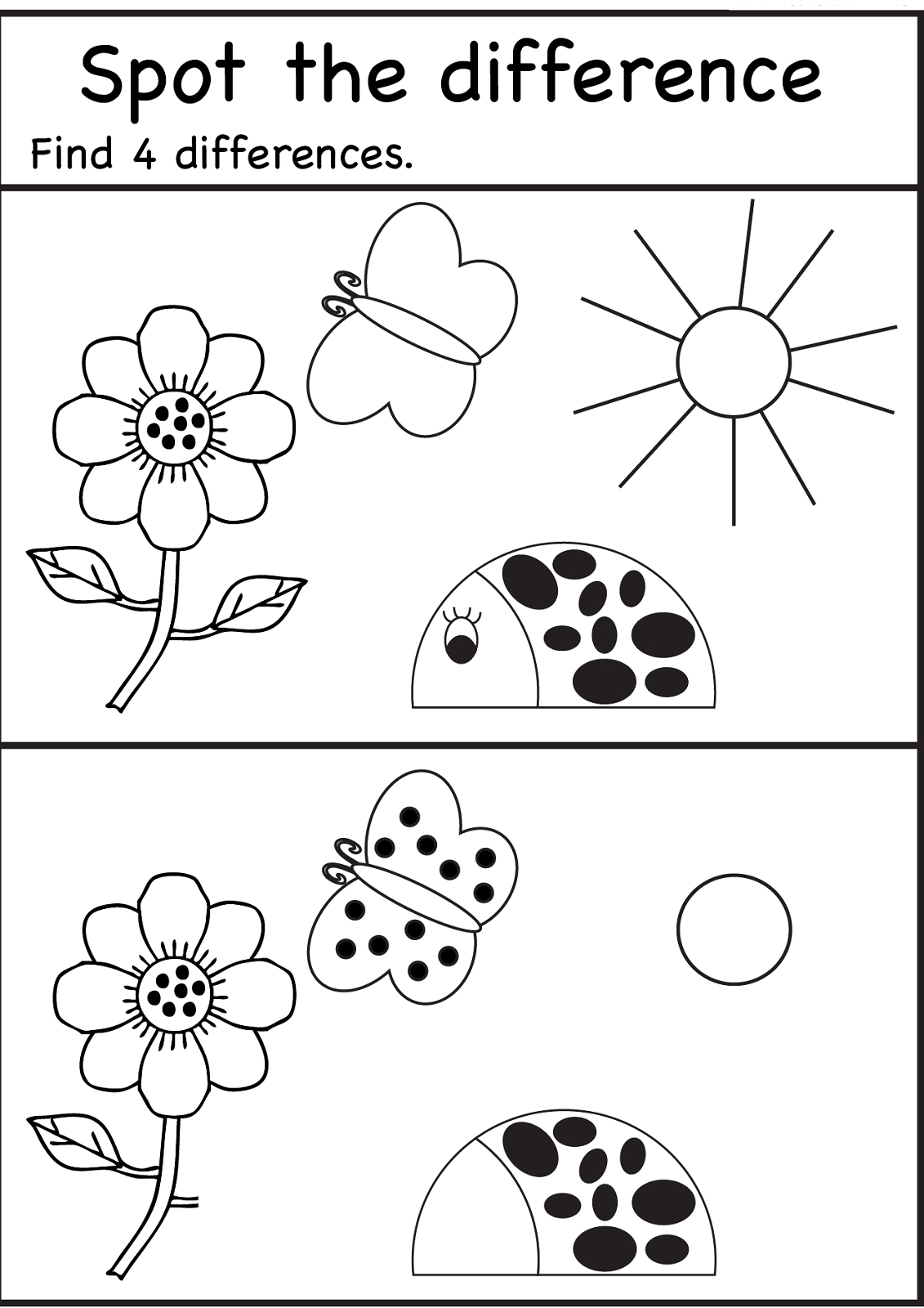 Spot The Difference Worksheets For Kids | Spot The . Games - Free Printable Spot The Difference For Kids