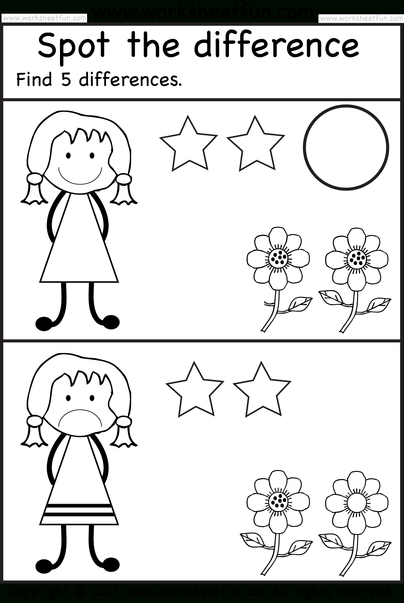 Spot The Differences | Pre K Activities | Kindergarten Worksheets - Free Printable Spot The Difference Worksheets
