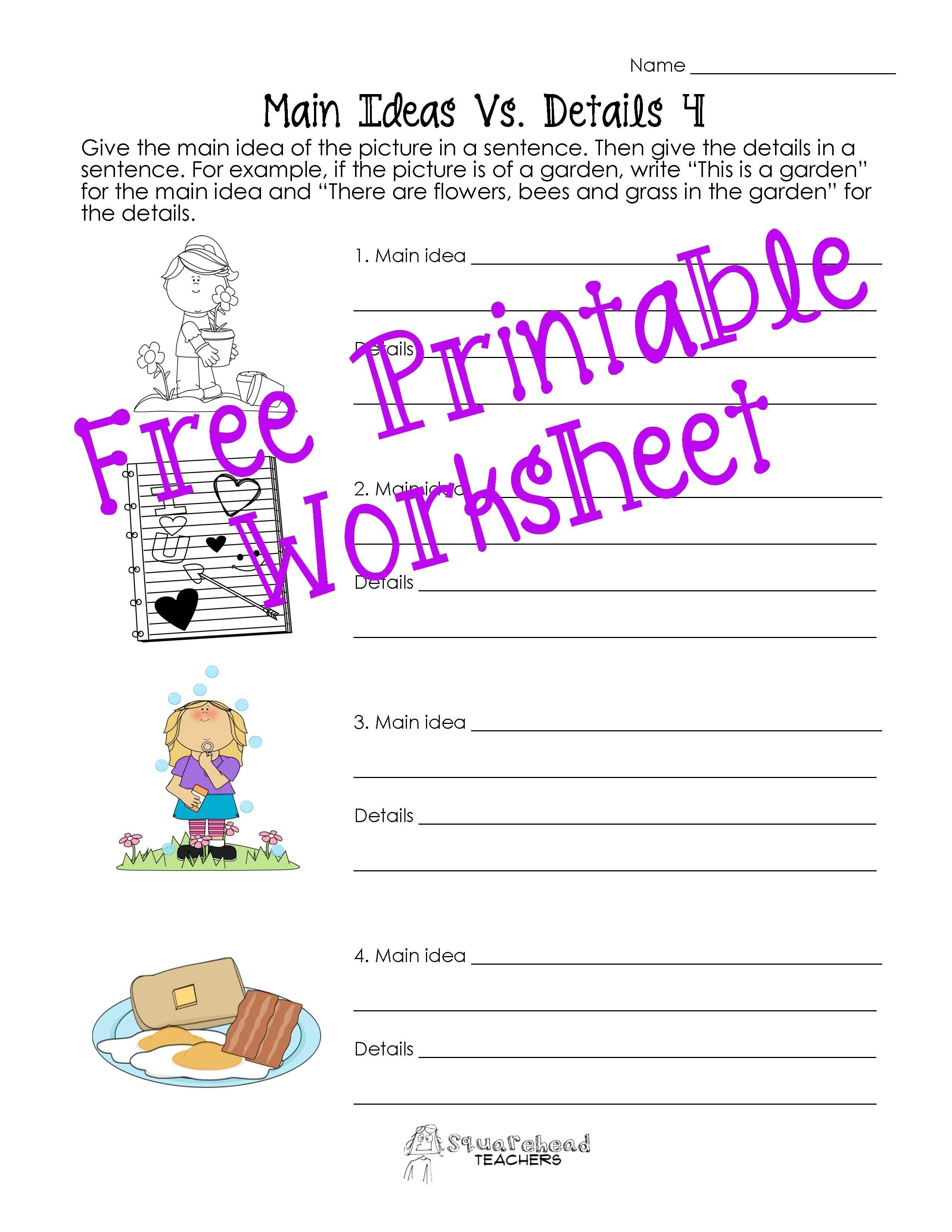 Squarehead Teachers: Main Idea Vs. Details Worksheets. Teach Main - Free Printable Main Idea Worksheets