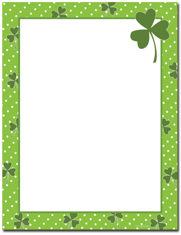 St Patrick's Day Stationery | Four Leaf Clover Letterhead | St - Free Printable St Patricks Day Stationery