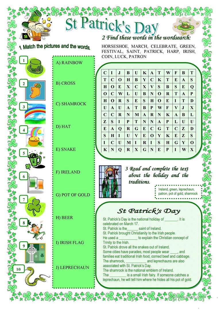 St Patrick's Day Worksheet - Free Esl Printable Worksheets Made - Free Printable St Patrick Day Worksheets