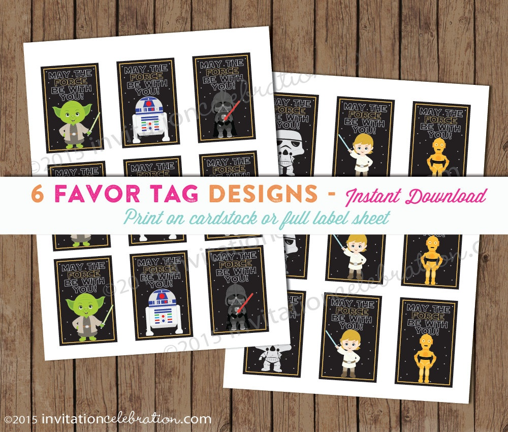 Star Wars Favor Tags Printable Sticker May The Force Be | Etsy - May The Force Be With You Free Printable