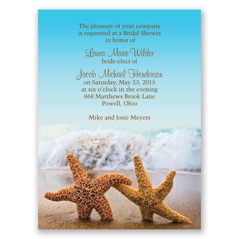 Starfish - Petite Bridal Shower Invitation - Free Printable Beach Theme Bridal Shower Invitations