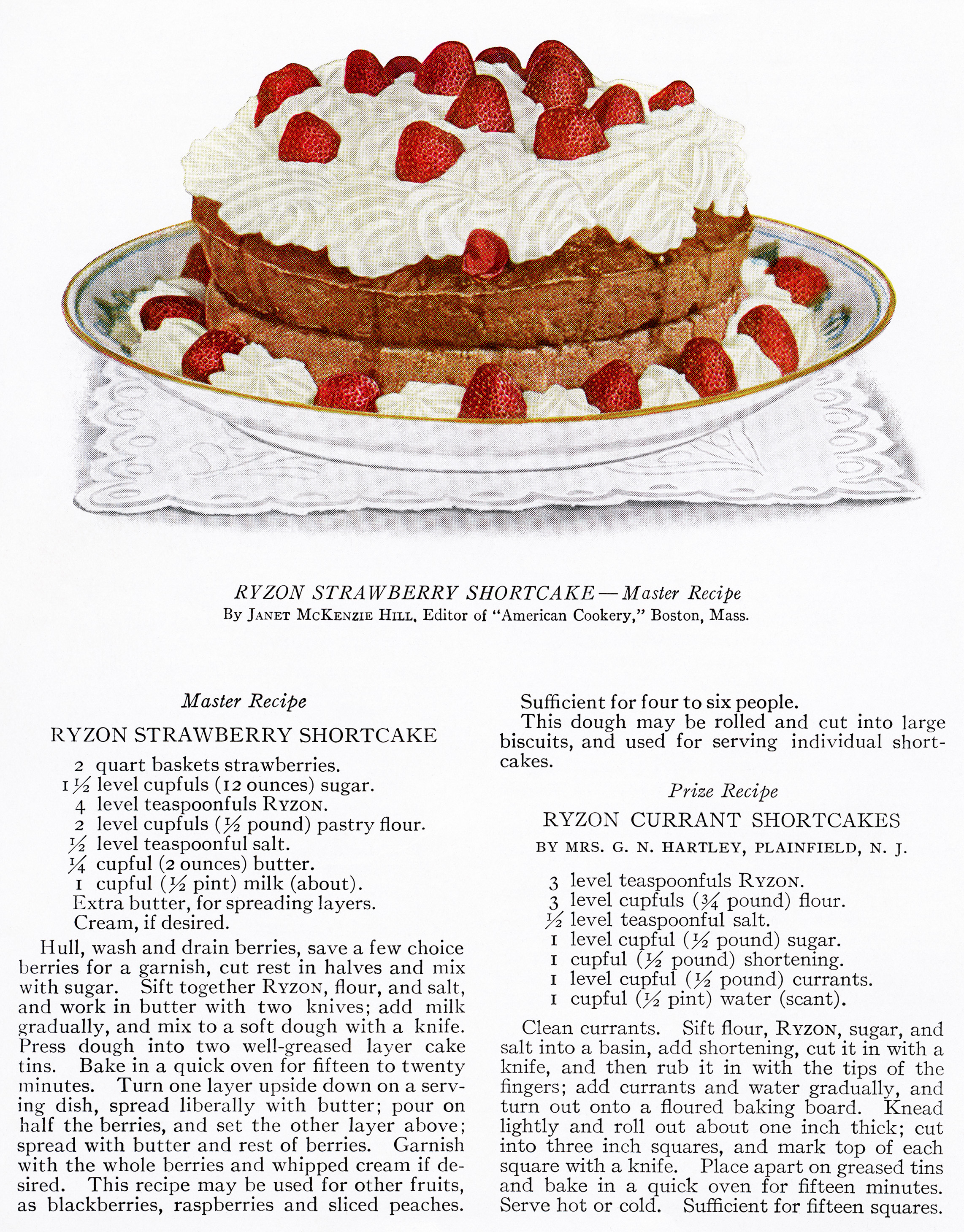 Strawberry Shortcake ~ Free Vintage Food Image - Old Design Shop Blog - Free Printable Dessert Recipes