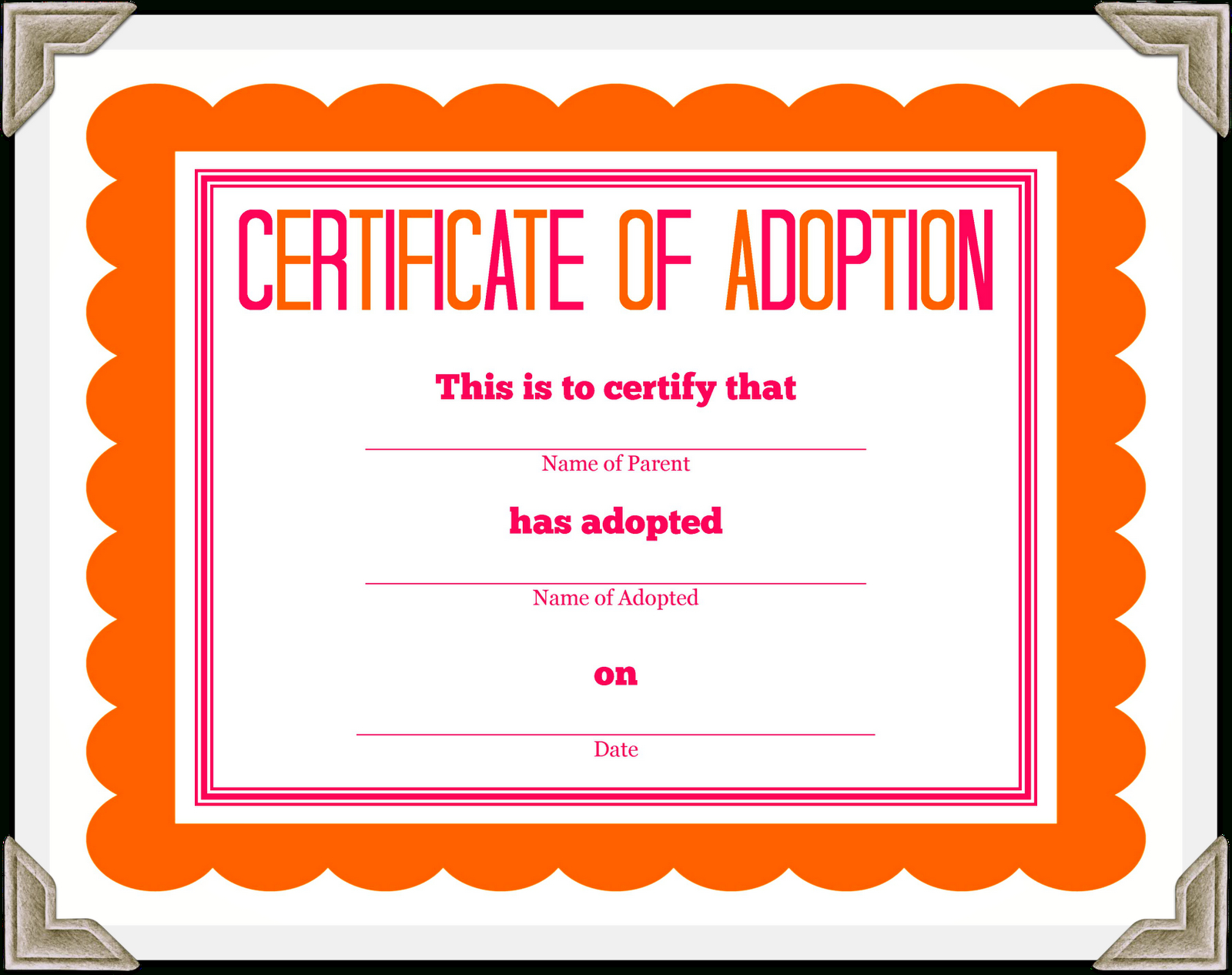 Stuffed Animal Adoption Certificate - Free Printable Stuffed Animal Adoption Certificate