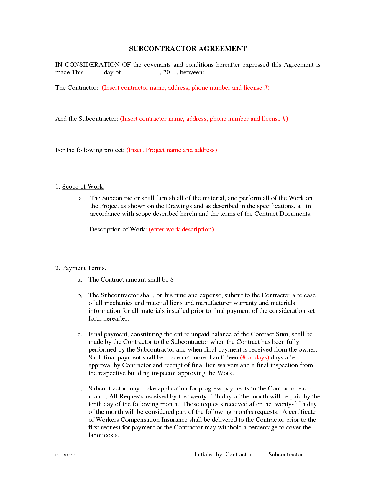 Subcontractor Agreement Formsbeunaventuralongjas - Subcontractor - Free Printable Handyman Contracts