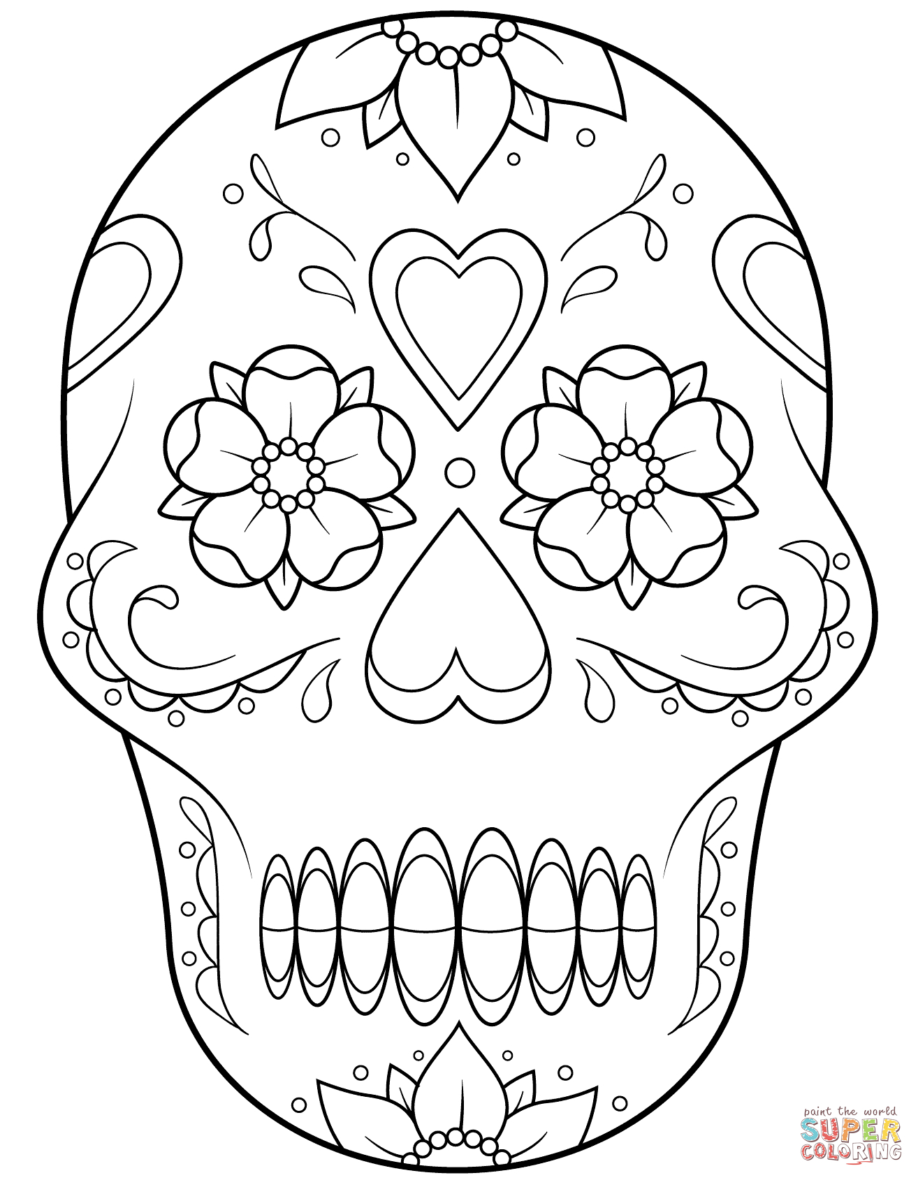 Sugar Skull With Flowers And Hearts Coloring Page   Free Printable - Free Printable Sugar Skull Coloring Pages