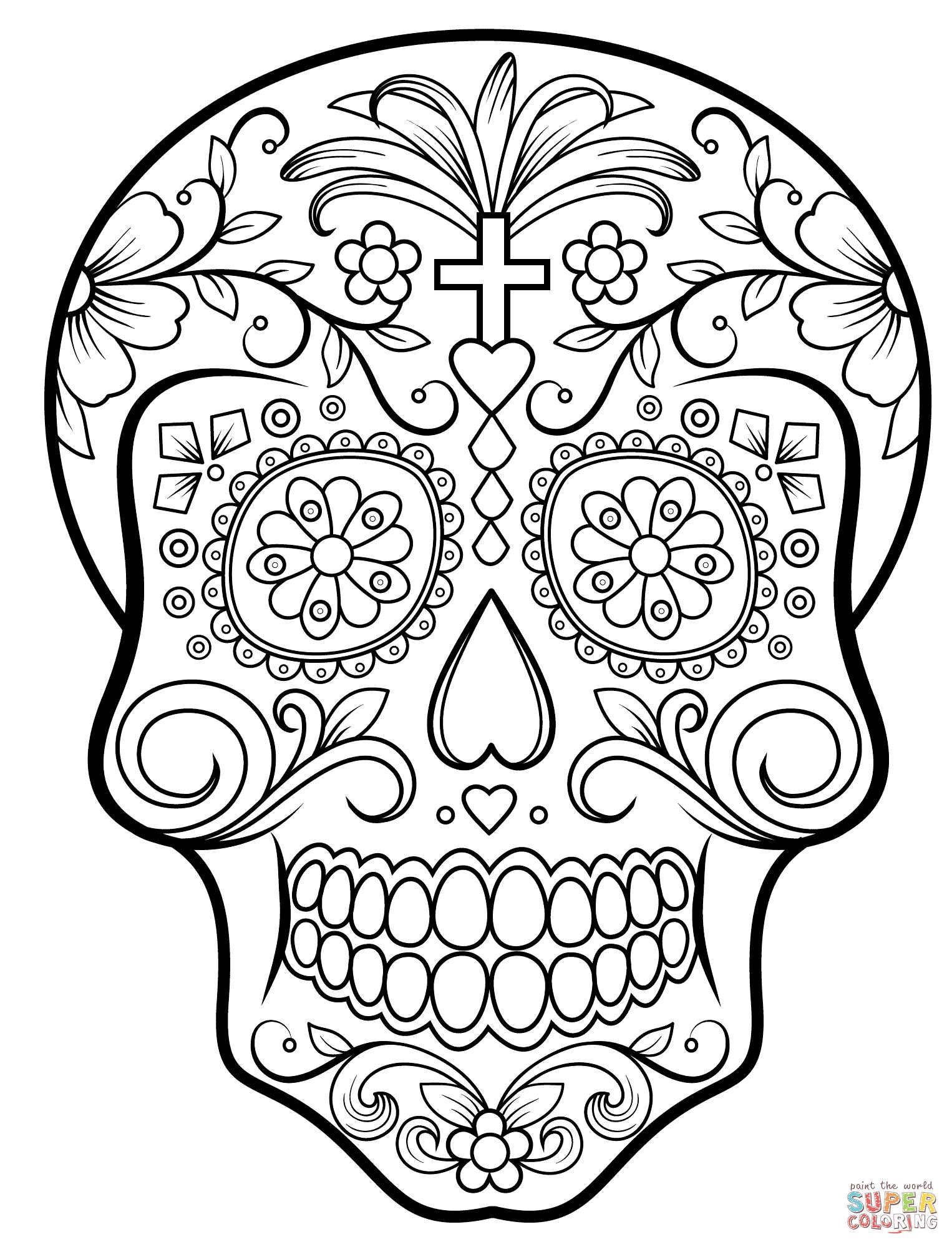 Sugar Skulls Coloring Pages   Free Coloring Pages - Free Printable Sugar Skull Coloring Pages