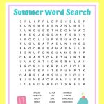 Summer Word Search Free Printable Worksheet For Kids   Free Printable Summer Pictures