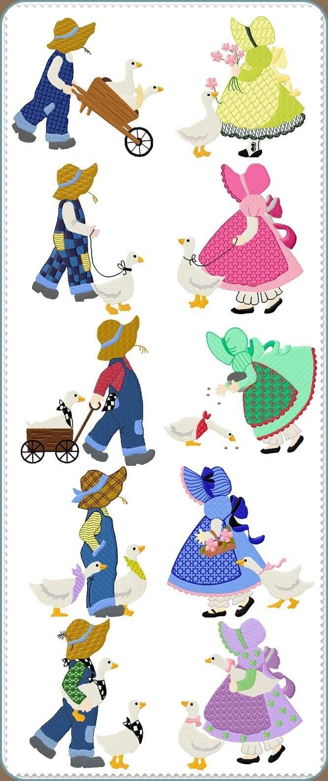 Sunbonnet Sue Printable Pattern | Sunbonnet Sue Quilt Blocks And - Free Printable Dutch Girl Quilt Pattern