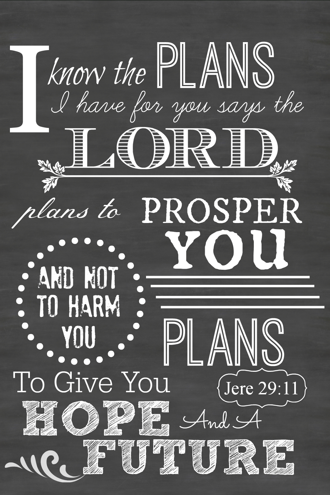 Sunday Scripture Printable Chalkboard Art | Inspiration - Jeremiah 29 11 Free Printable