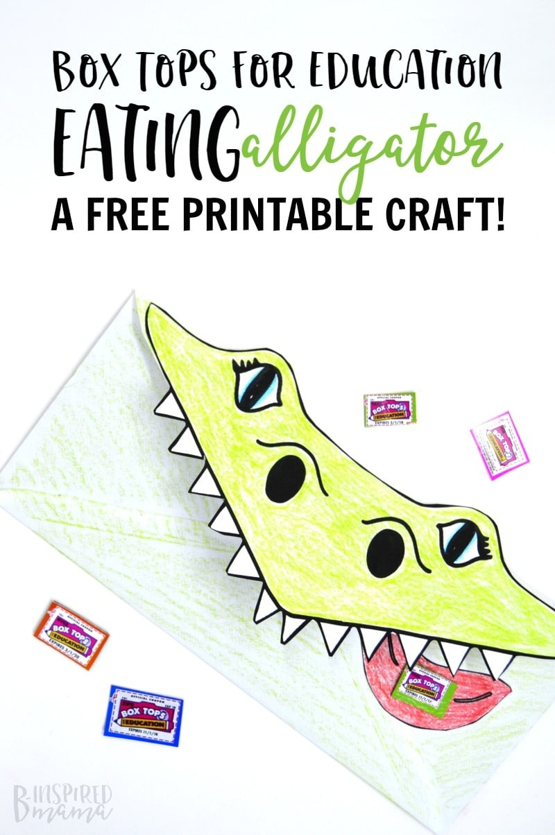 Super Cool Box Tops Eating Alligator Printable Craft - Free Printable Box Tops For Education