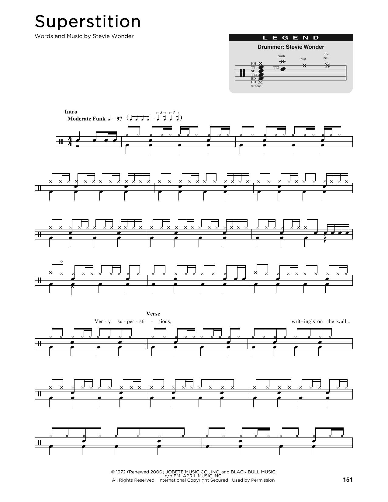 Superstition Sheet Music | Stevie Wonder | Drums Transcription - Free Printable Gospel Sheet Music For Piano