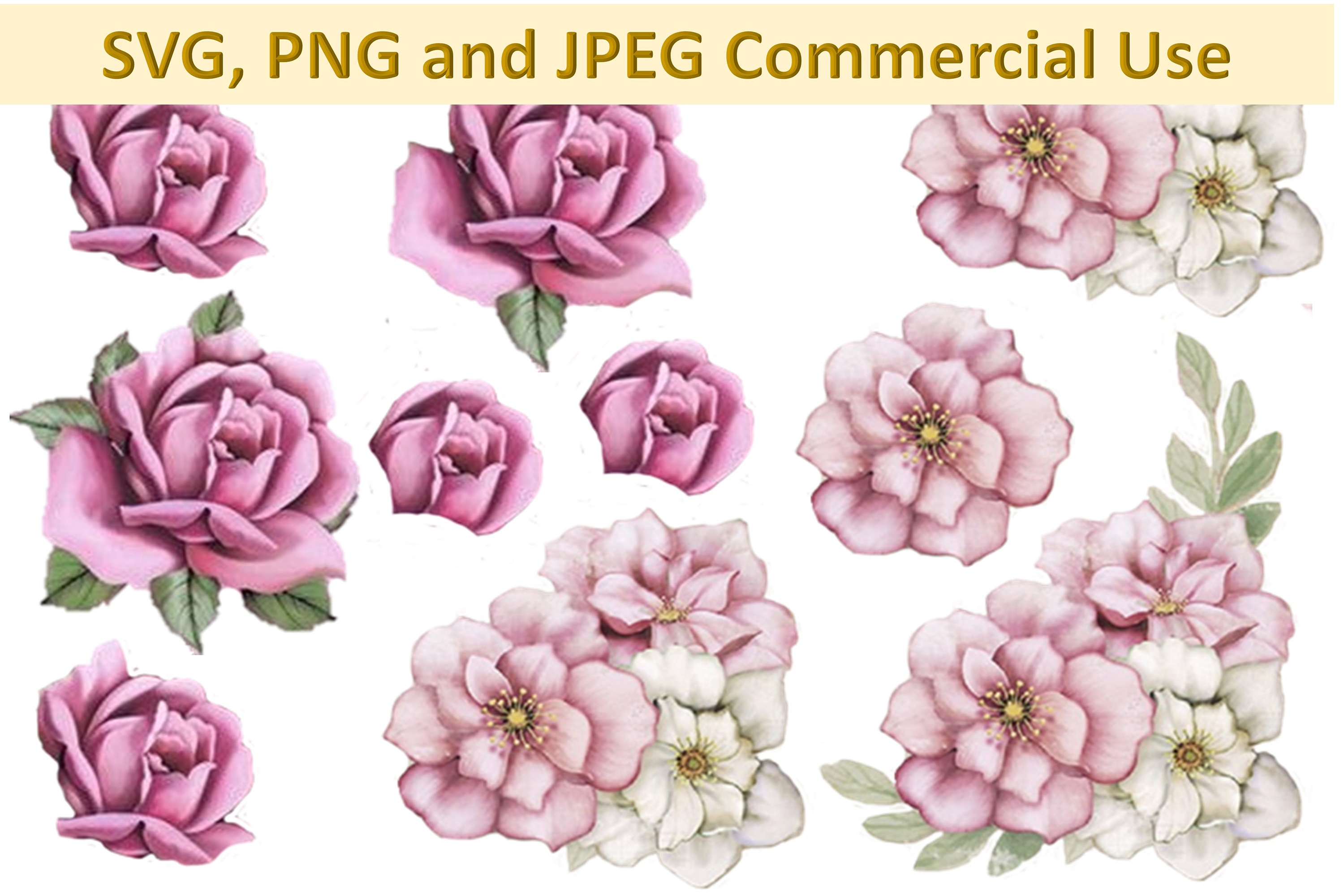 Svg, Png And Jpeg Decoupage, Collage Sheets Woodland Roses C - Free Printable Decoupage Images