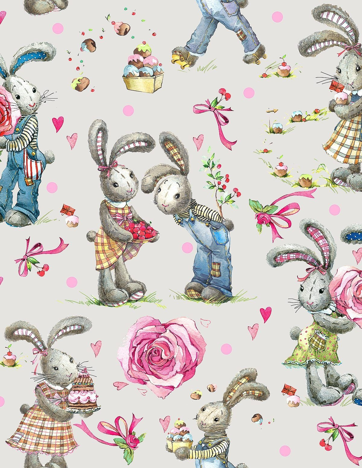 Sweet Watercolor Bunny Gift Wrap – Free Printable | Vintage - Free Printable Easter Wrapping Paper