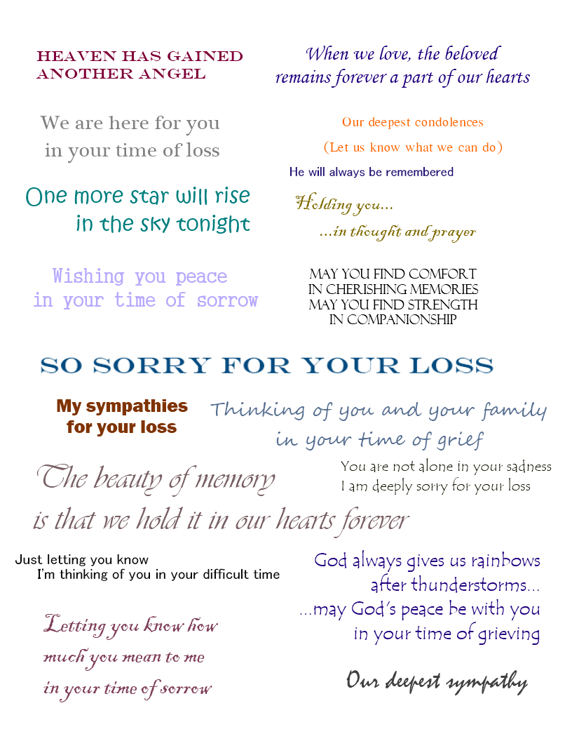 Sympathy Cards | Verses For Sympathy Cards That Express Your Deepest - Free Printable Sympathy Verses