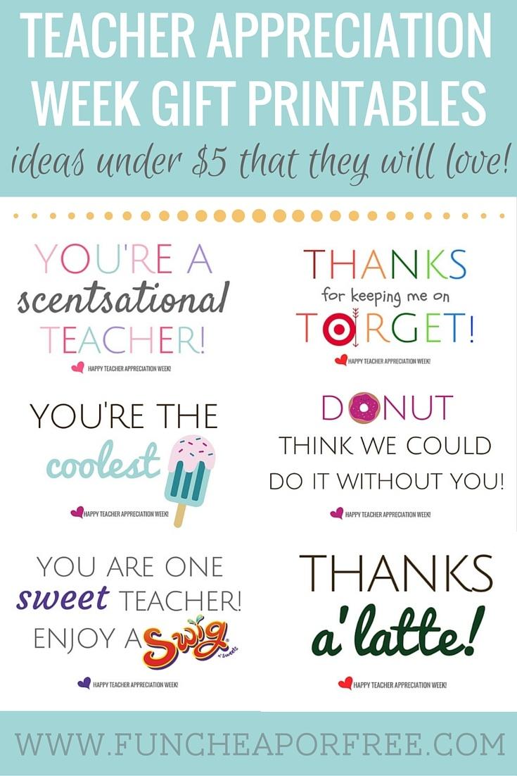 Teacher Appreciation Printables - Gifts Under $5! - Fun Cheap Or Free - Scentsational Teacher Free Printable