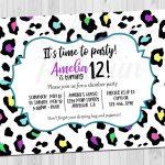 Teen Birthday Invitation Tween Birthday Invite Rainbow | Etsy   Free Printable Cheetah Birthday Invitations