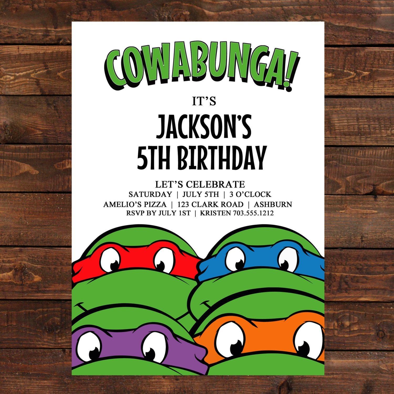 Teenage Mutant Ninja Turtles Birthday Party Invitations | Dolanpedia - Free Printable Teenage Mutant Ninja Turtle Cupcake Toppers