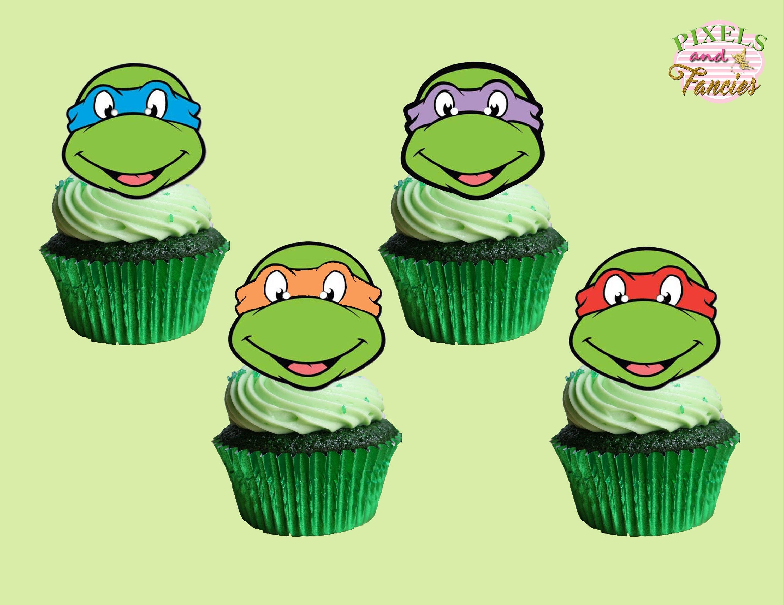 Teenage Mutant Ninja Turtles Cupcake Toppers Tmnt Cupcake | Etsy - Free Printable Teenage Mutant Ninja Turtle Cupcake Toppers