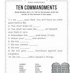 Ten Commandments Worksheet For Kids   Worksheets For Psr   Bible   Free Printable Bible Games For Kids