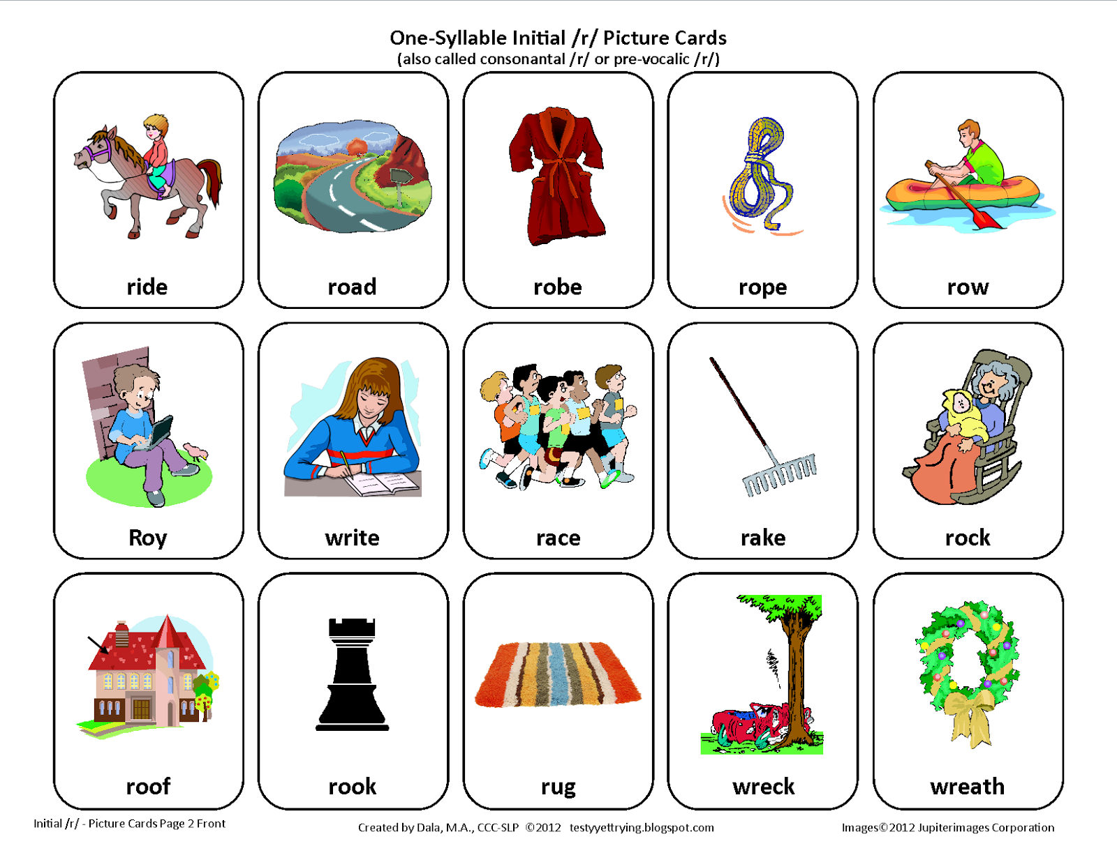 Testy Yet Trying: Initial R: Free Speech Therapy Articulation - Free Printable Vocalic R Worksheets