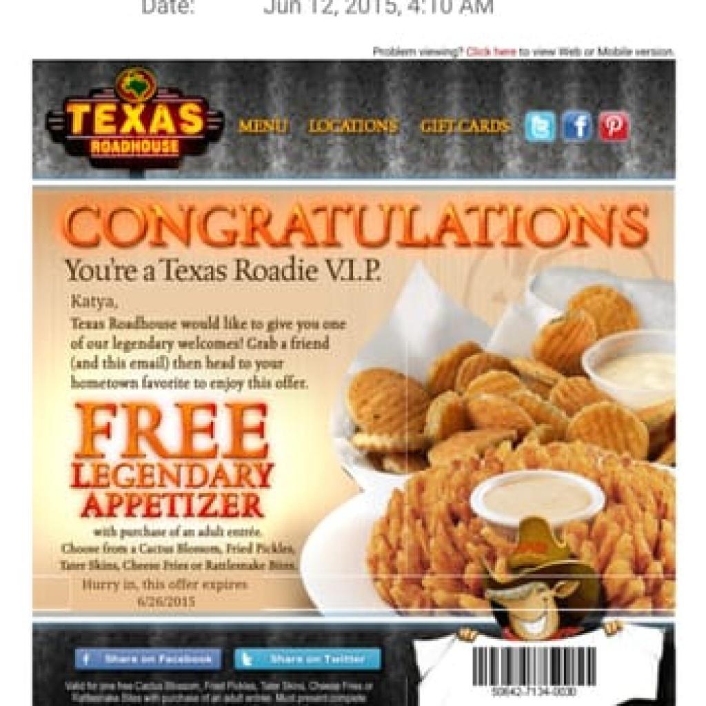 Texas Roadhouse Coupons Printable Free Appetizer (86+ Images In - Texas Roadhouse Free Appetizer Printable Coupon 2015
