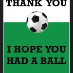Thank You Card For Party Favors - Soccer Themeludesignandideas - Free Printable Soccer Thank You Cards