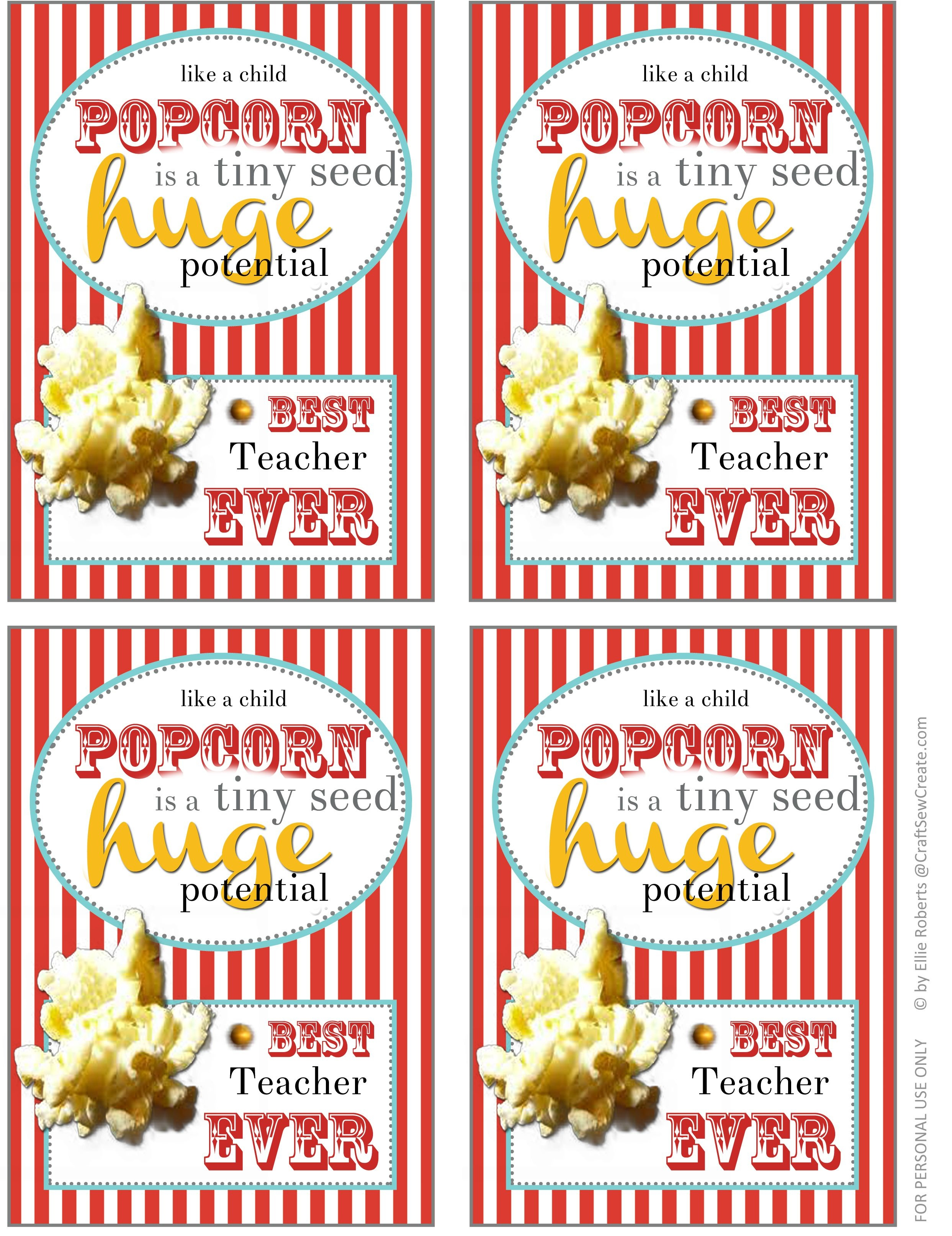 Thank You For Popcorn Printable For Primary Teachers | Primary - Free Popcorn Teacher Appreciation Printable