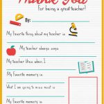 Thank You Teacher   A Free Printable   Stay At Home Mum   All About My Teacher Free Printable
