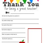 Thank You Teacher Free Printable   All About My Teacher Free Printable