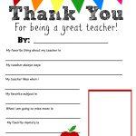Thank You Teacher Free Printable   Free Teacher Appreciation Week Printable Cards