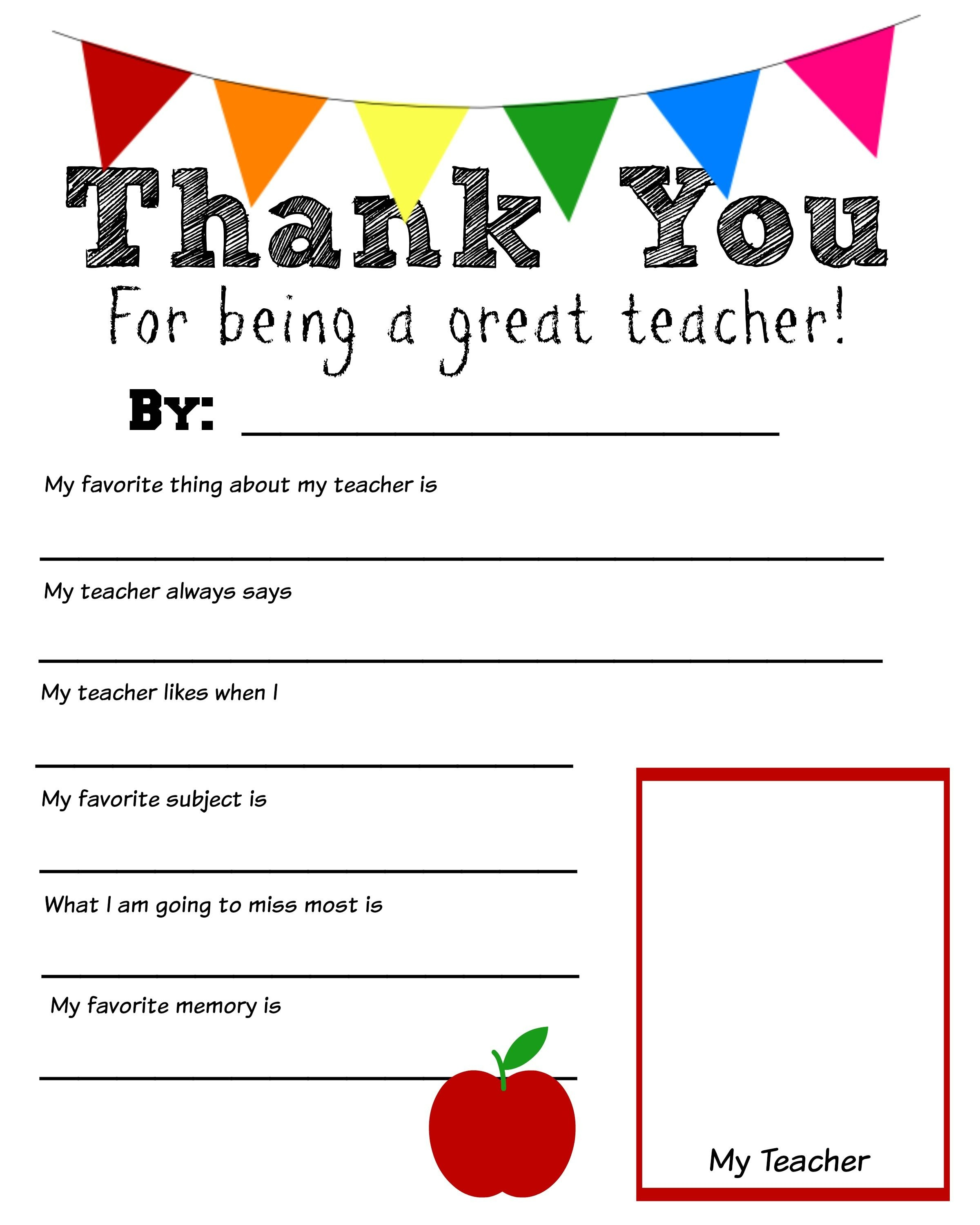 Thank You Teacher Free Printable | Teacher Appreciation | Teacher - Free Printable Teacher Appreciation Cards To Color