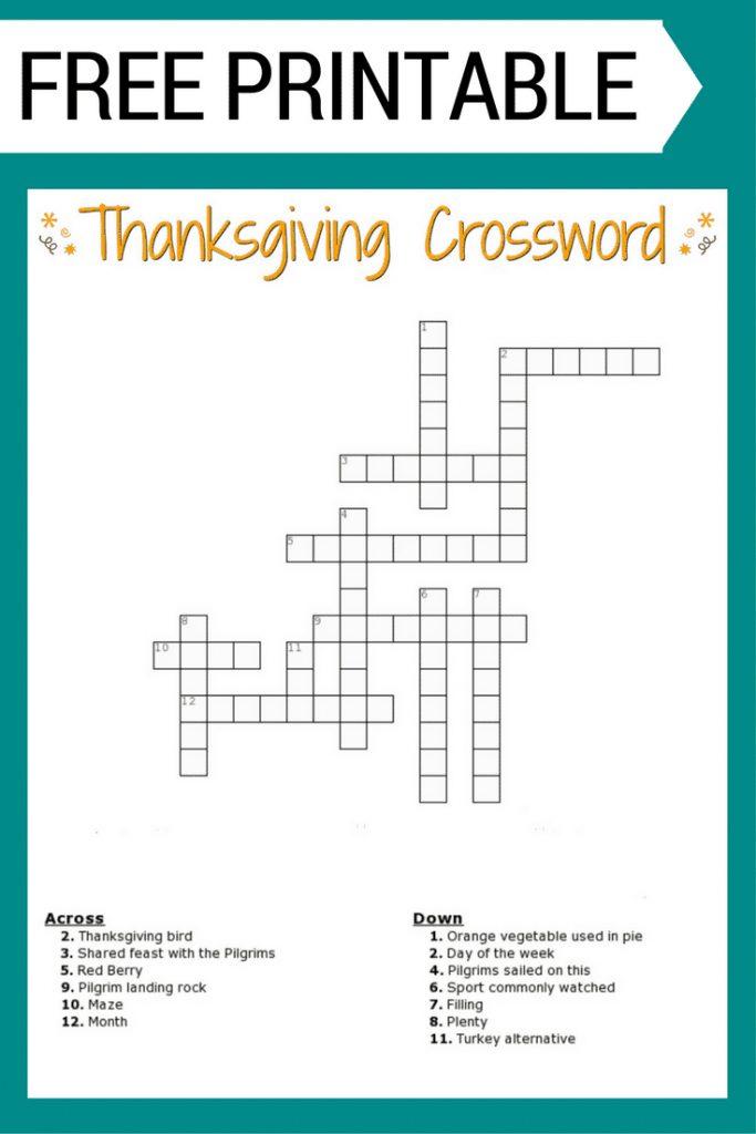 Thanksgiving Crossword Puzzle Free Printable - Free ...