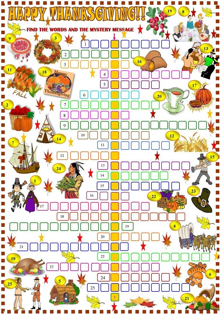 Thanksgiving: Crossword Puzzle Worksheet - Free Esl Printable - Thanksgiving Crossword Puzzles Printable Free