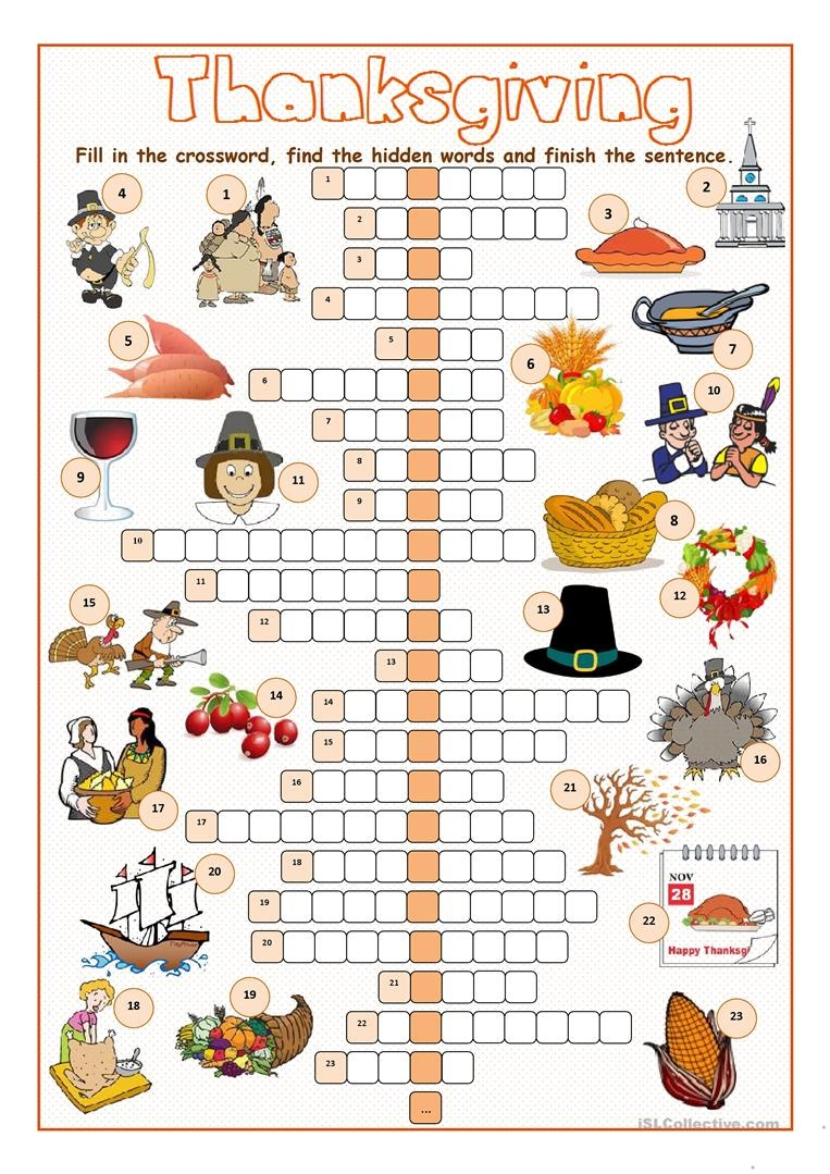 Thanksgiving Crossword Puzzles Printable Free | Free Printable