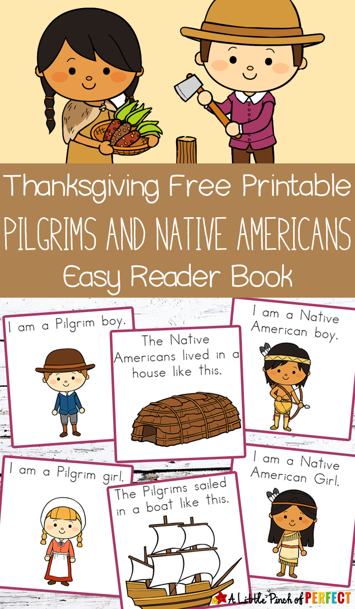 Thanksgiving Free Printable Easy Reader Book: Pilgrims And Native - Thanksgiving Printable Books Free