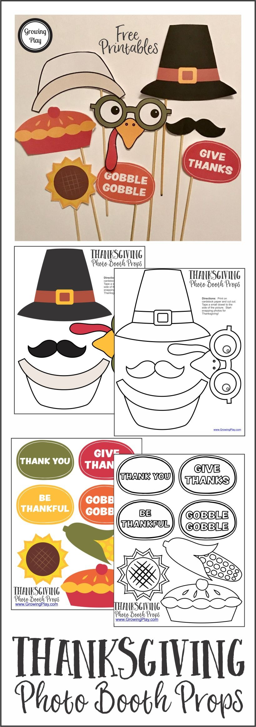 Thanksgiving Photo Booth Props - Growing Play - Free Printable Thanksgiving Photo Props