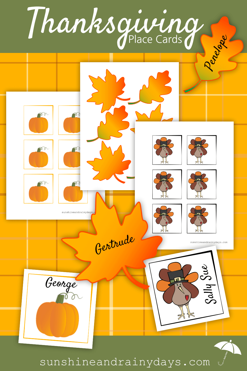 Thanksgiving Place Card Printable   Thanksgiving Printables - Free Printable Thanksgiving Place Cards To Color