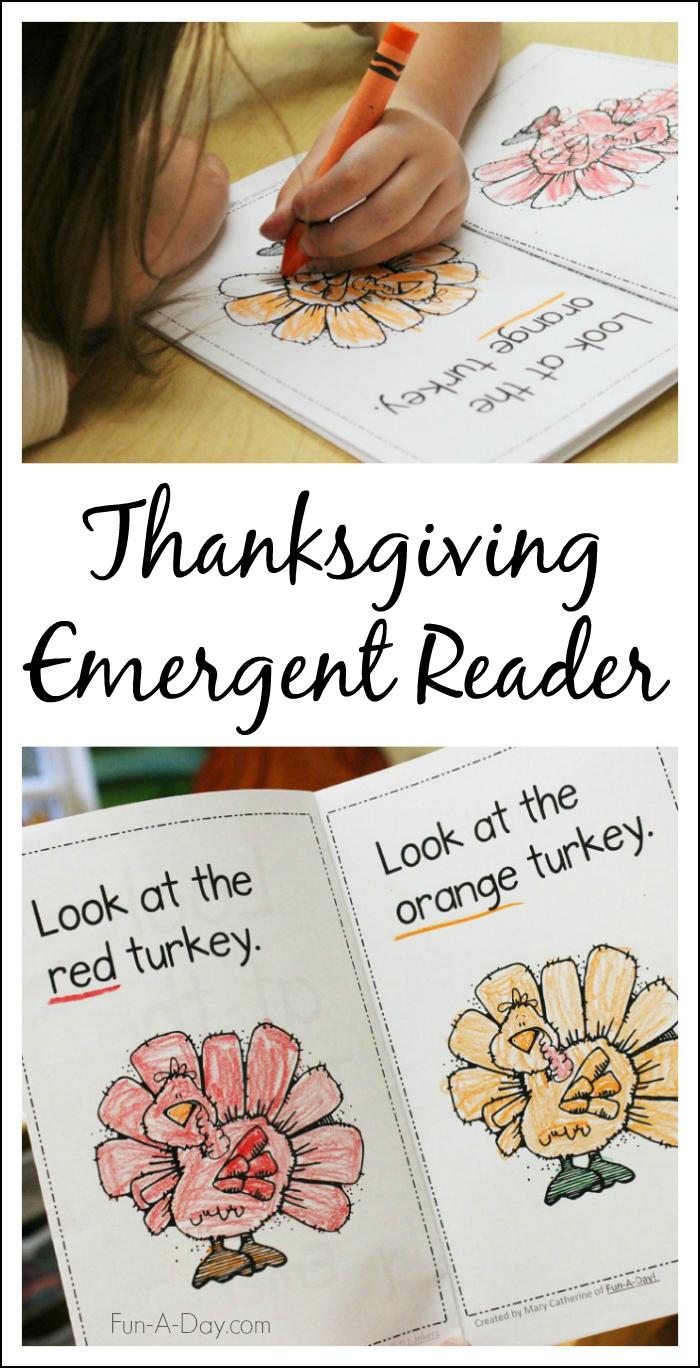 Thanksgiving Printable Emergent Reader To Teach Kids Colors - Thanksgiving Printable Books Free