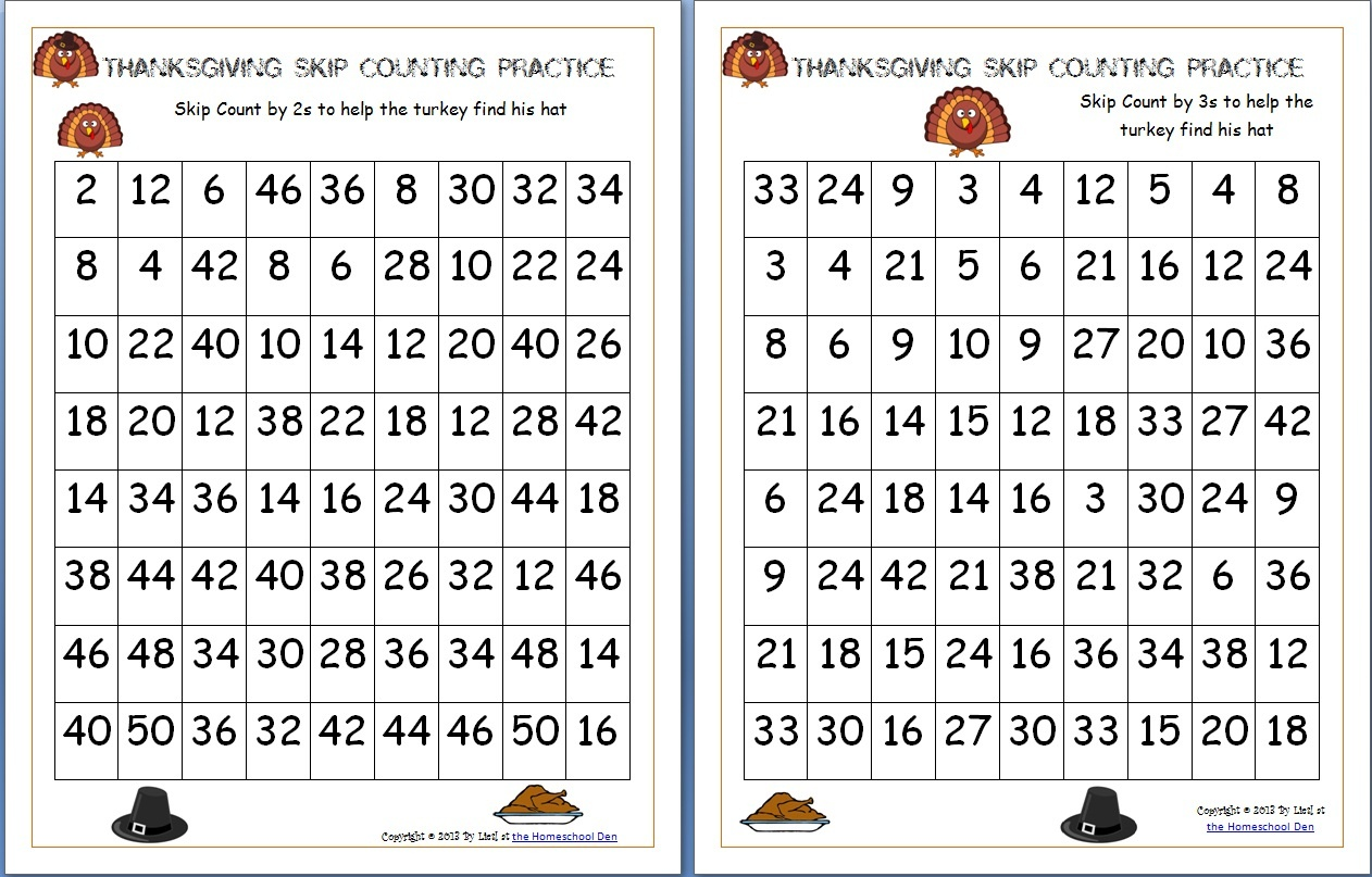 Thanksgiving Skip Counting Mazes 2S, 3S, 5S (Free) - Homeschool Den - Free Printable Thanksgiving Worksheets For Middle School