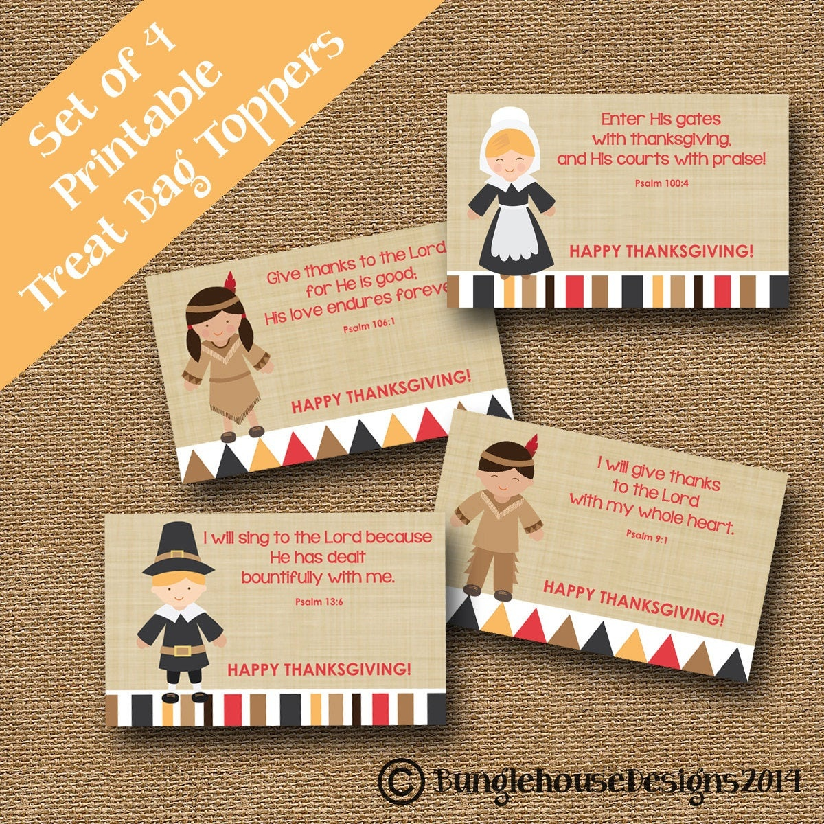 Thanksgiving Treat Bag Toppers For Kids Pilgrims And Indians   Etsy - Free Printable Thanksgiving Treat Bag Toppers