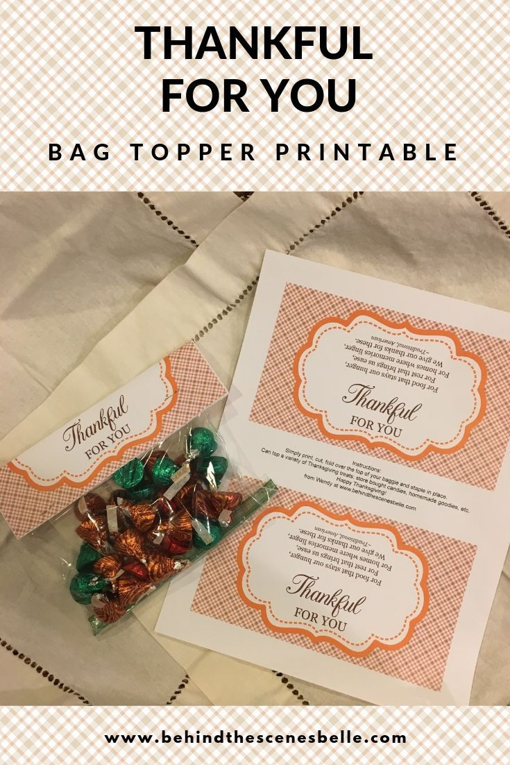 Thanksgiving Treats For Classmates And Teachers   Best Of Behind The - Free Printable Thanksgiving Treat Bag Toppers