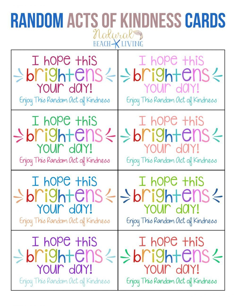 The Best Random Acts Of Kindness Printable Cards Free | Girl Scouts - Free Printable Kindness Cards
