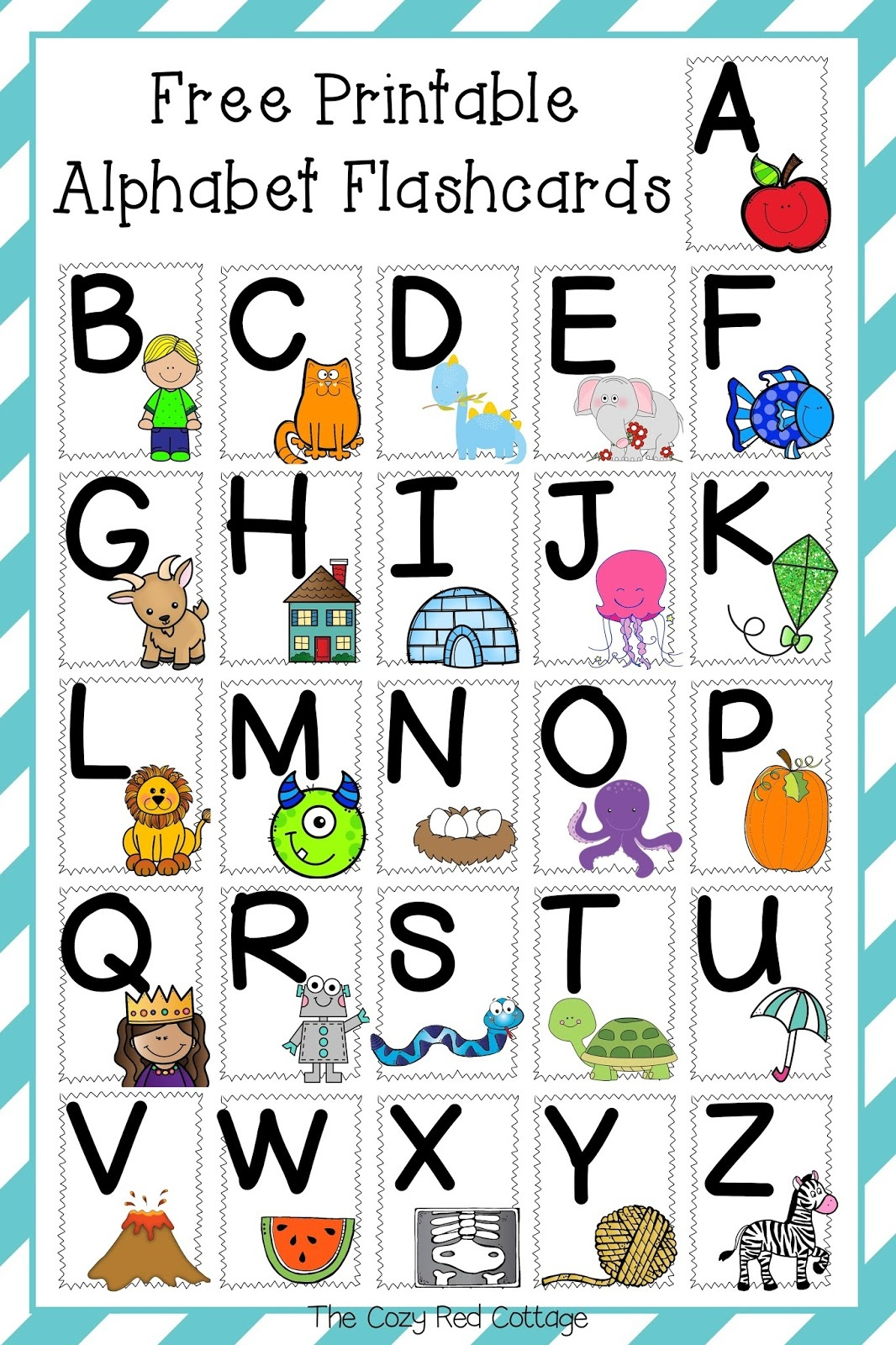 The Cozy Red Cottage: Free Printable Alphabet Flashcards - Free Printable Alphabet Cards With Pictures