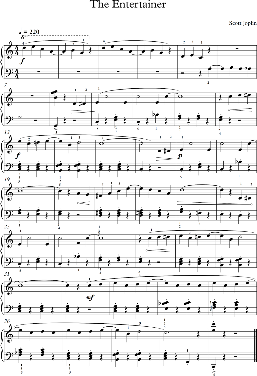 The Entertainer. Scott Joplin. Partitura Para Piano. (Banda Sonora - Free Printable Sheet Music For The Entertainer